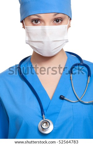 portrait of doctor in mask with stethoscope. isolated on white background - stock photo