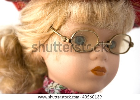 portrait of doll face - stock photo