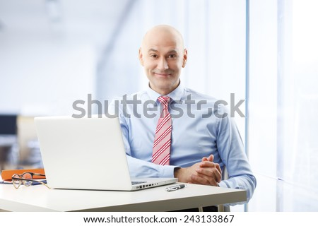 Portrait of efficiency sales man sitting in front of laptop at office.  Business people. - stock photo