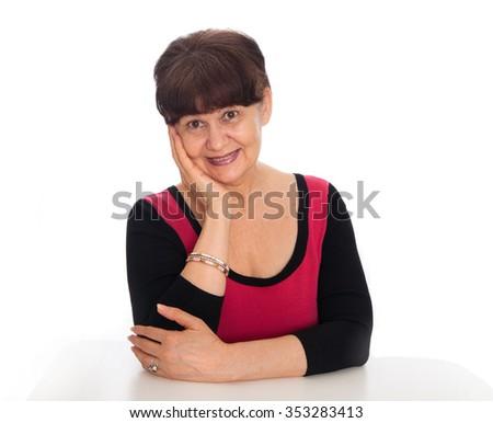 Portrait of elderly good looking woman. Senior life style concept - stock photo