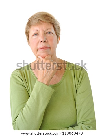 Portrait of elderly woman isolated on the white background - stock photo