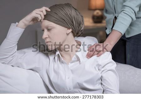 Portrait of elegant woman having breast cancer - stock photo