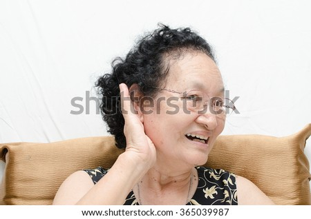Portrait of emotion asian senior woman with deaf expression - stock photo