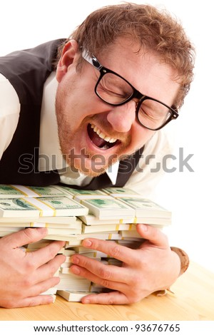 portrait of emotional man in glasses holding bundles of money isolated on white - stock photo