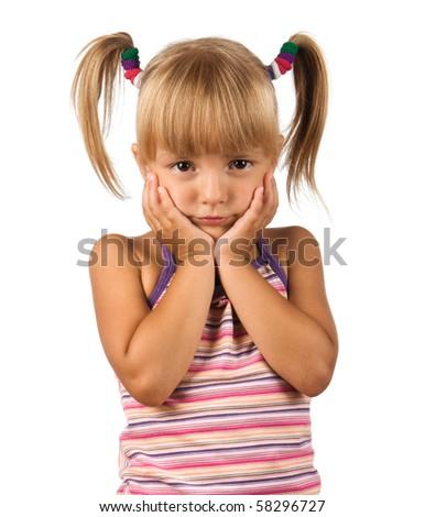 Portrait of emotionally kid. Funny little boy isolated on white background. Beautiful caucasian model. - stock photo