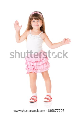 Portrait of emotionally pretty little girl on white background - stock photo