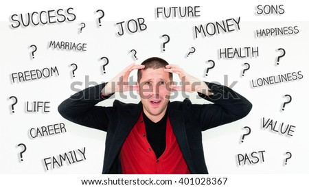 Portrait of exasperated and undecided businessman with hands in his hair with words success, job, money, future, health, career, family, past, value, freedom, life, loneliness, happiness - stock photo