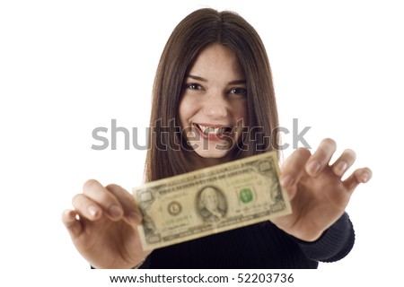 Portrait of excited young woman holding money in the hand, she's stretching the $100 dollar bill, isolated on white background - stock photo