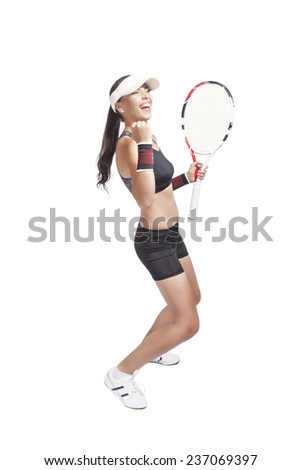 Portrait of Exclaiming Professional Female Tennis Player Showing Excitement About Tournament Completion. Isolated over pure white background.Vertical Image Composition - stock photo