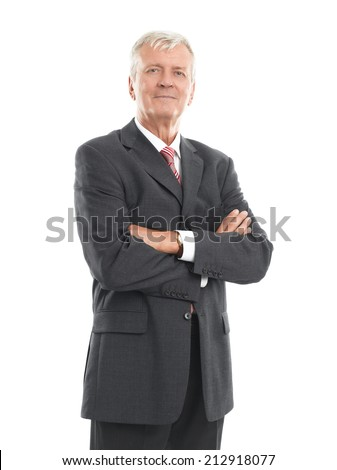 Portrait of executive senior businessman standing against white background. Business people.  - stock photo
