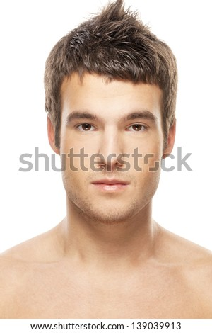 Portrait of face of young beautiful man close up, on white background. - stock photo