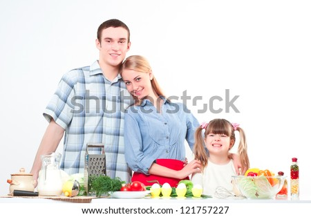 portrait of family cook together. family pastime - stock photo