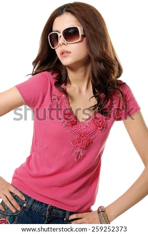 portrait of fashion shot of girl in sunglasses posing  - stock photo