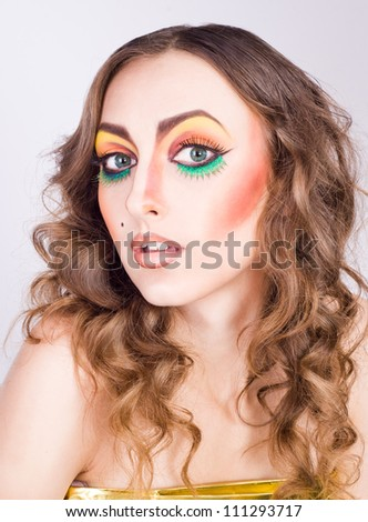 portrait of fashion woman model with beauty bright make-up. Beautiful famale face with clean skin. - stock photo