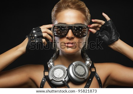portrait of fashion woman model with glamour glasses - stock photo