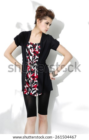 portrait of fashion young woman posing  - stock photo