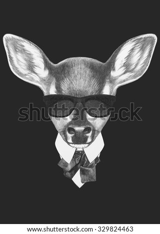 Portrait of Fawn in suit. Hand drawn illustration. - stock photo