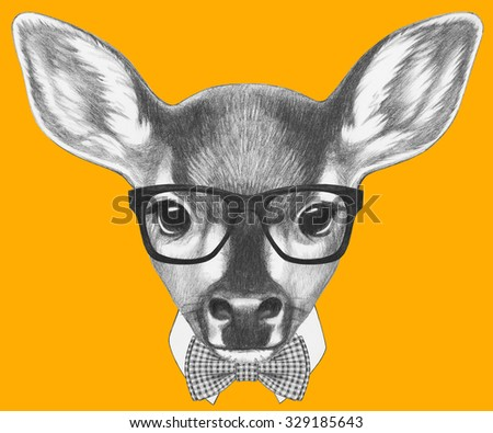 Portrait of Fawn with glasses and bow tie. Hand drawn illustration. - stock photo