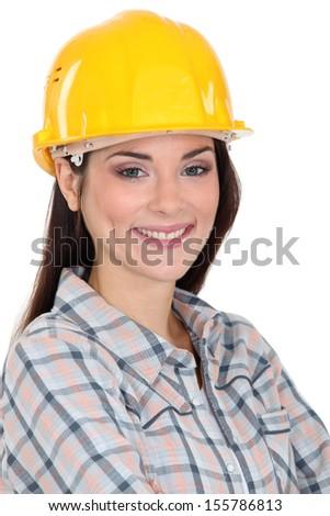 Portrait of female manual worker - stock photo
