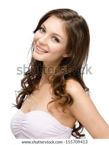 Portrait of female with hair ringlets, isolated on white. Concept of beauty and youth - stock photo