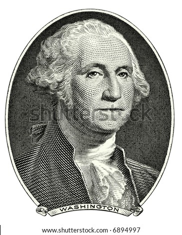 Portrait of first U.S. president George Washington as he looks on one dollar bill obverse. Clipping path included. - stock photo