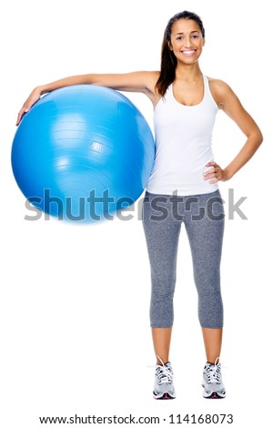 Portrait of fit and healthy gym woman with ball isolated on white background, smiling and happy. - stock photo