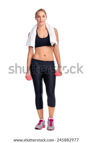 portrait of Fit healthy gym women working out with dumbbells isolated on white - stock photo