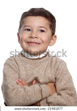 portrait of five-year-old hispanic boy - stock photo