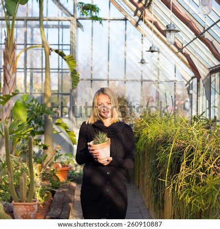 Portrait of florists woman working with flowers in a greenhouse holding a pot plant in her hand. Small business owner. - stock photo