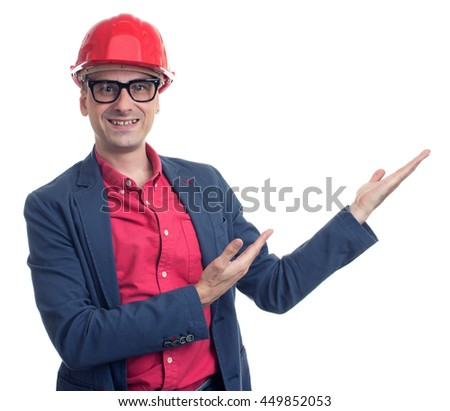 Portrait of foreman with hard hat isolated on white background - stock photo
