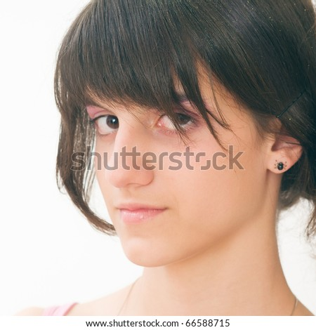 Portrait of fresh and beautiful teenager - stock photo