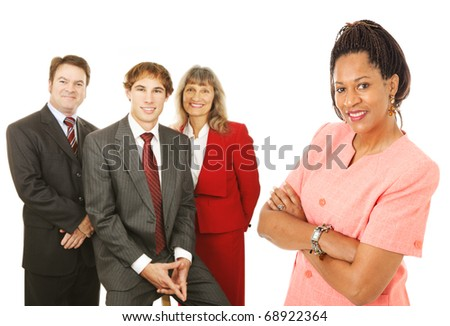 Portrait of friendly, competent business people.  Isolated on white. - stock photo