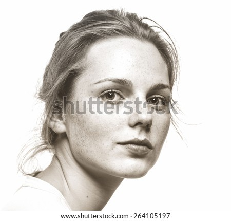 Portrait of fun attractive girl woman with freckles clear skin and beautiful hair black and white - stock photo