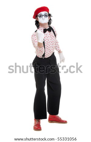 portrait of funny and angry mime. isolate on white background - stock photo
