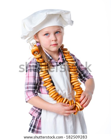 Portrait of Funny little girl kid playing with cat. Isolated on white background. - stock photo
