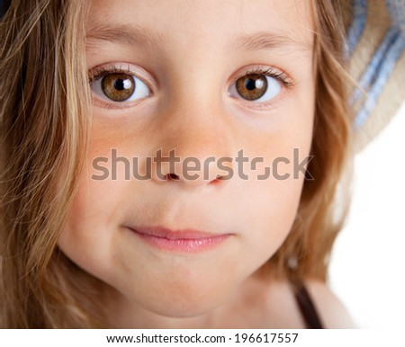 Portrait of funny little girl  over white background - stock photo