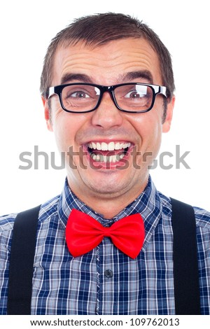 Portrait of funny nerd man laughing, isolated on white background. - stock photo