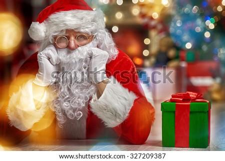 Portrait of funny Santa Claus - stock photo