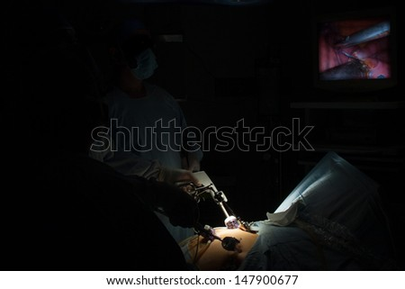 Portrait of gastric bypass surgery in hospital - stock photo