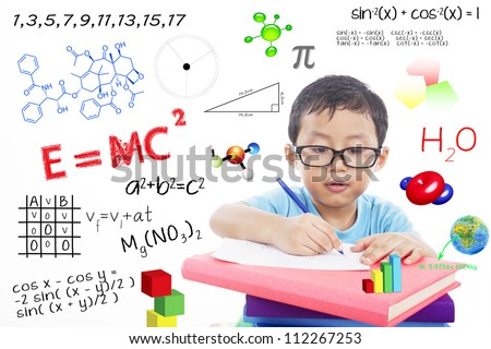 Portrait of genius boy trying to solve formula - stock photo
