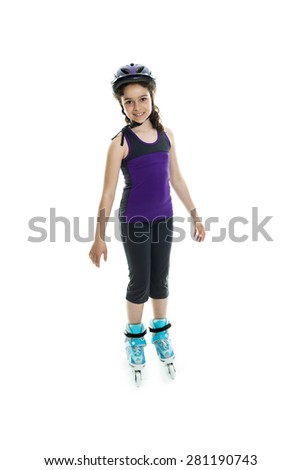 portrait of girl on inline skating  - stock photo