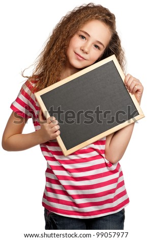 Portrait of girl with blackboard isolated on white background - stock photo