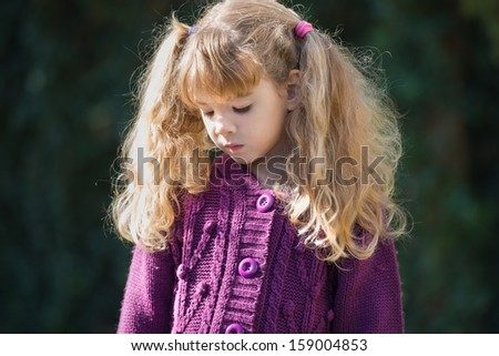 portrait of girl with Pigtails - stock photo