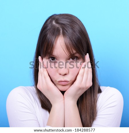 Portrait of girl with shock gesture - stock photo