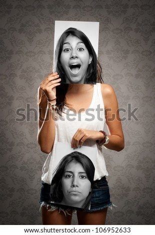 portrait of girl with two faces - stock photo