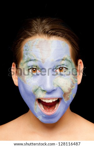 portrait of girl with world map painted on her face - stock photo