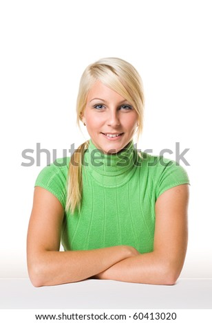 Portrait of gorgeous young blond. - stock photo