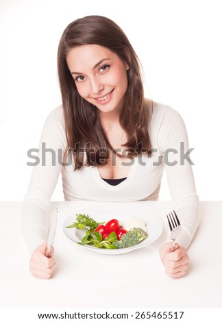Portrait of gorgeous young brunette with diet concept. - stock photo