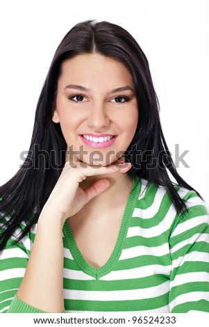 portrait of gorgeous young woman smiling - stock photo