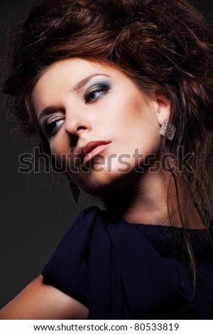 portrait of graceful yong woman with hairstyle - stock photo